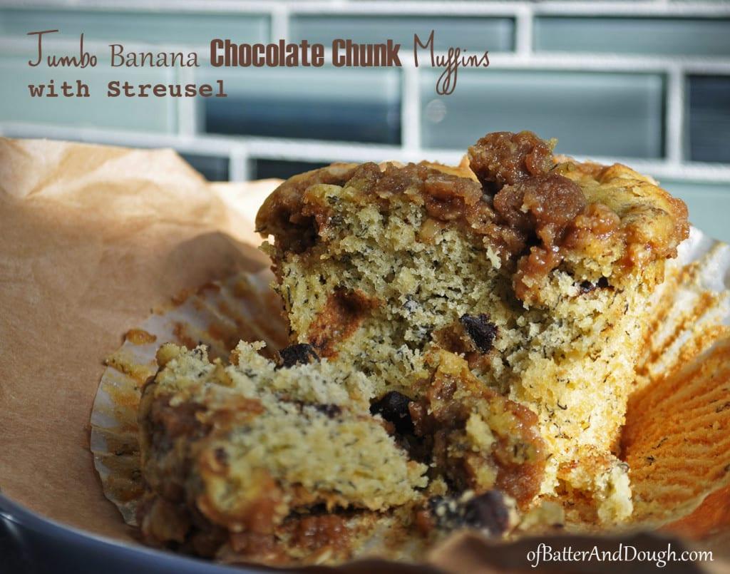 Jumbo Banana Chocolate Chunk Muffins