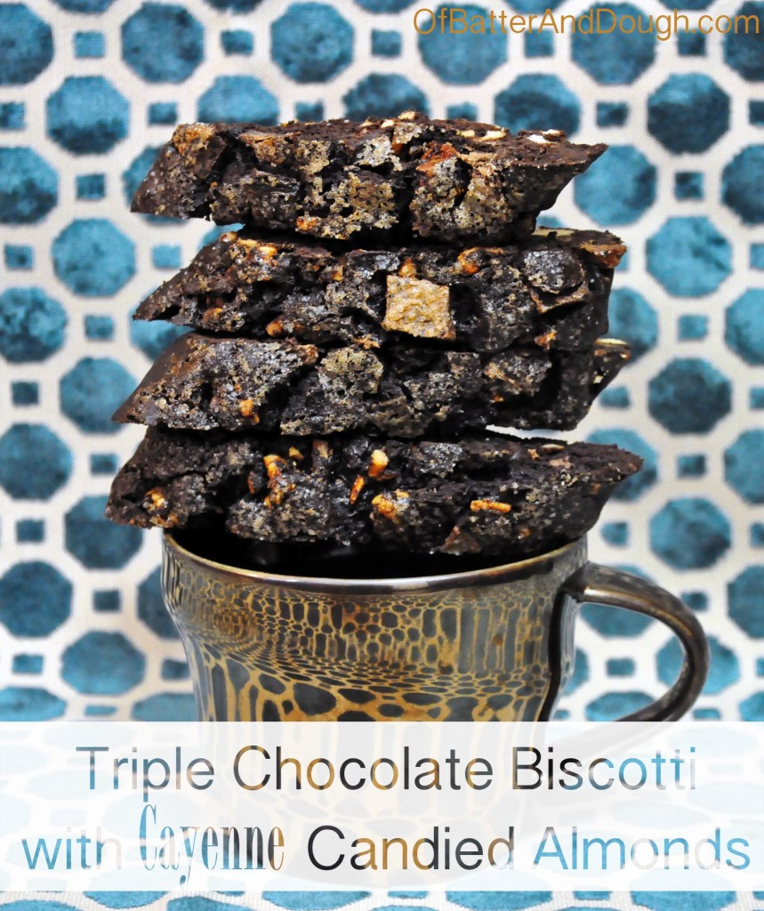 Triple chocolate biscotti with cayenne candied almonds