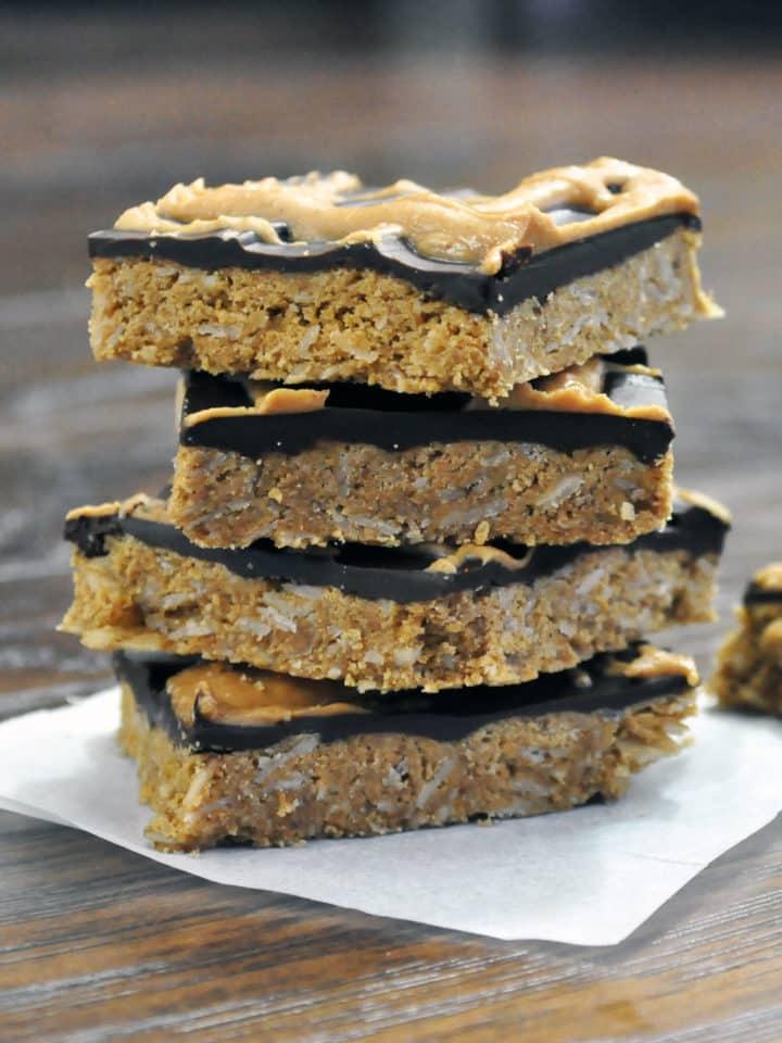 Chocolate Peanut Butter Bars, Gluten Free | ofbatteranddough.com