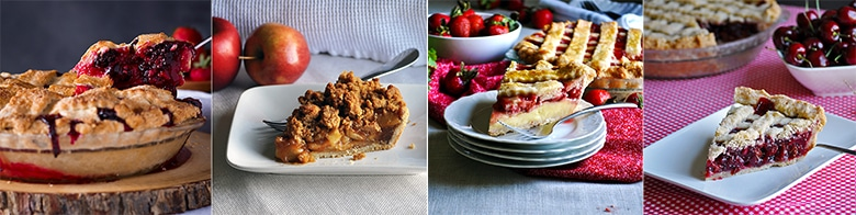 Four favorite fruit pie recipes: Mixed Berry and Plum Pie, My Favorite Apple Pie, Strawberries and Cream Pie, Triple Cherry Pie