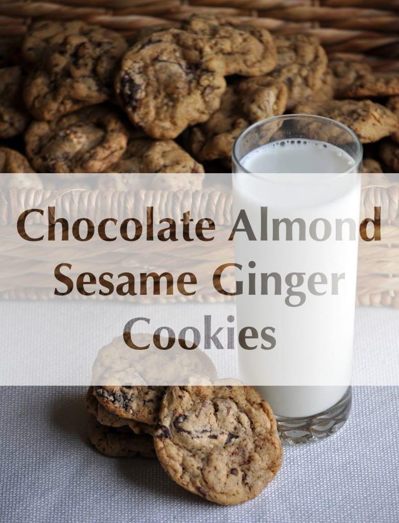 Chocolate Almond Sesame Ginger Cookies | ofbatteranddough.com