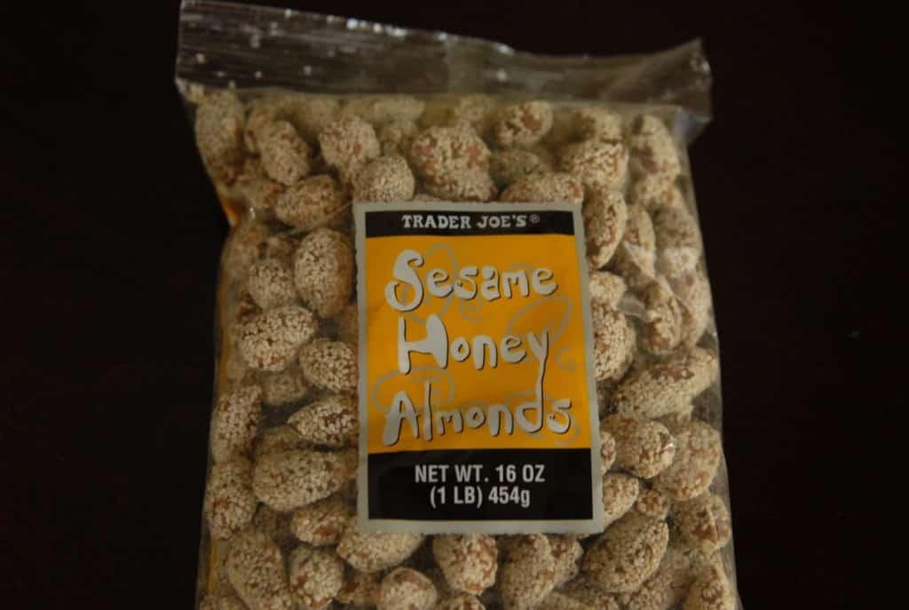 Sesame Honey Almonds from Trader Joe's | ofbatteranddough.com