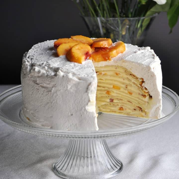 Peaches and Cream Crepe Cake | OfBatterandDough.com