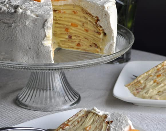 Peaches and Cream Crepe Cake | OfBatterandDough.com