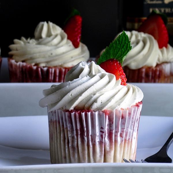 A strawberry mojito cupcake.