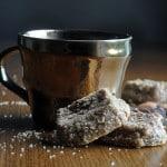 mocha almond sables, chocolate almond shortbread cookies