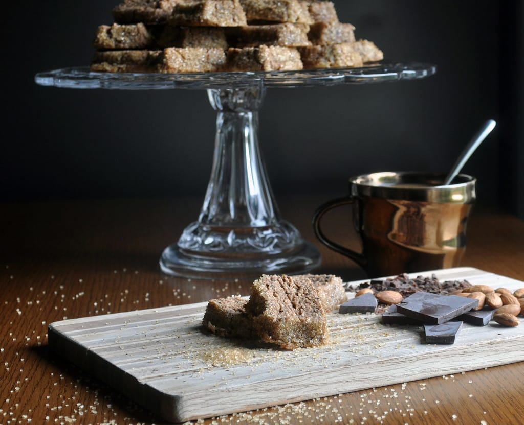 mocha almond sables, chocolate shortbread cookies