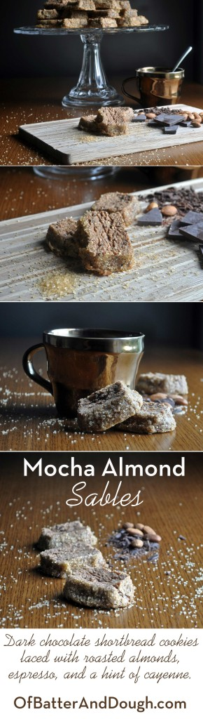 mocha almond sables, chocolate almond shortbread cookies