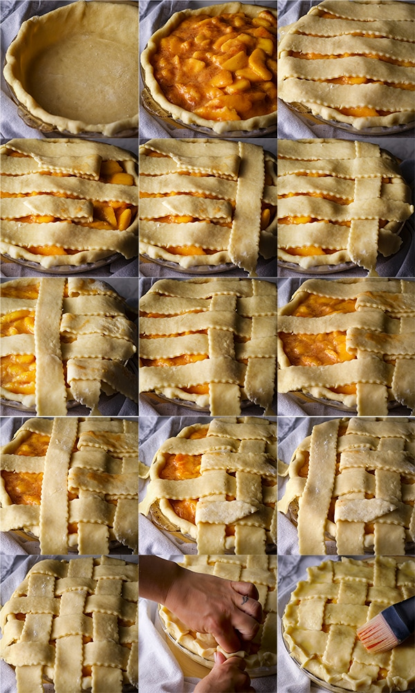 Step-by-step pictures of how to make a lattice crust for a pie.