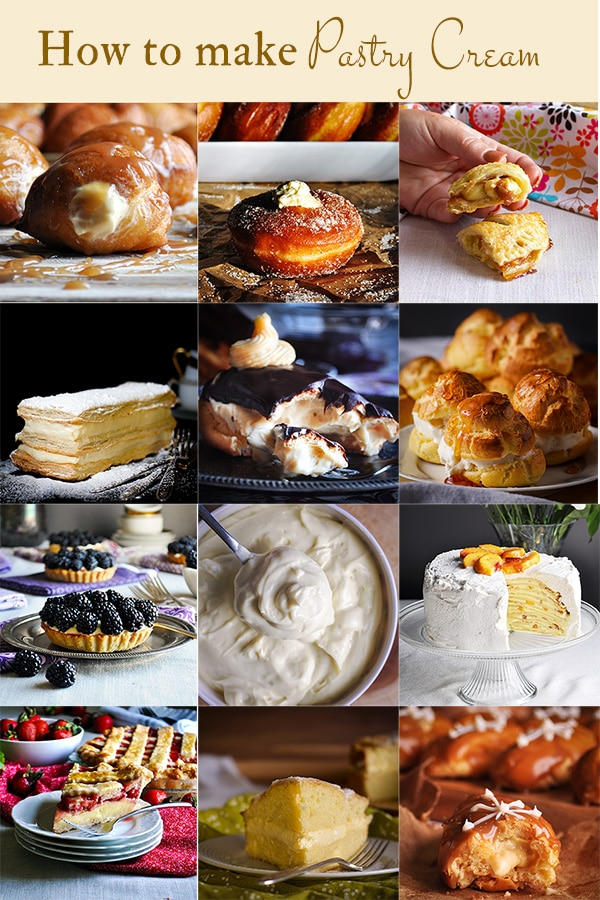 A collage of images showing several pastries that can be made with pastry cream.