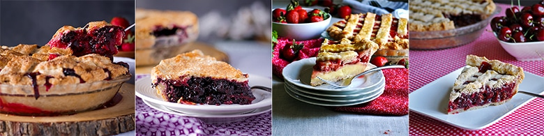 Popular fruit pie recipes: Mixed Berry Plum Pie, Perfect Blueberry Pie, Strawberries and Cream Pie, Triple Cherry Pie