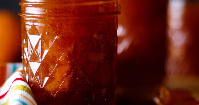 A jar of Homemade Peach Preserves