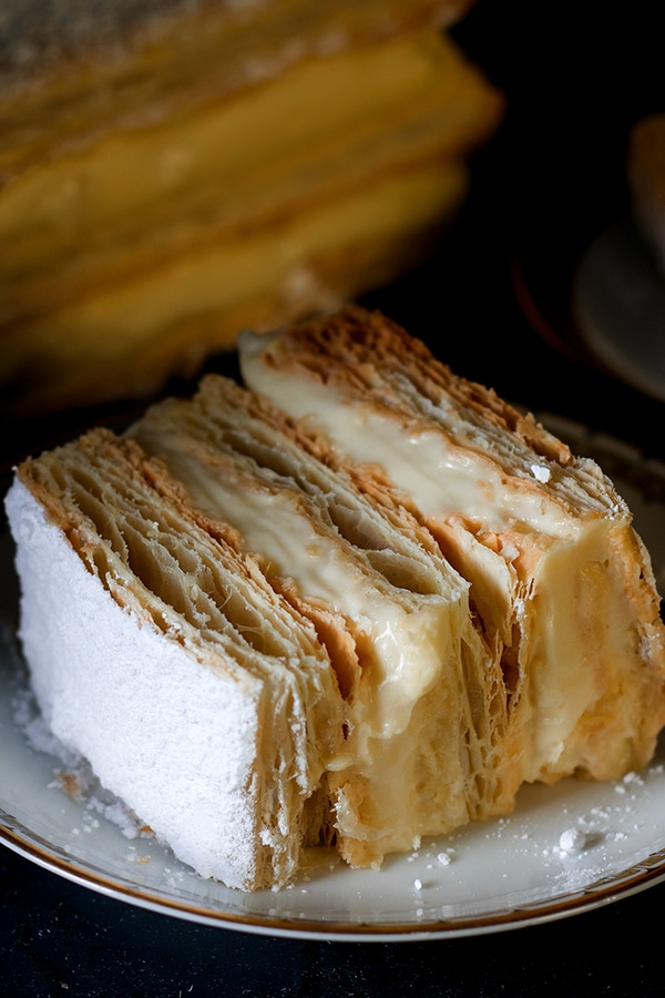 A slice of a classic French Napoleon. Also known as the Mille Feuille Cream Pastry.