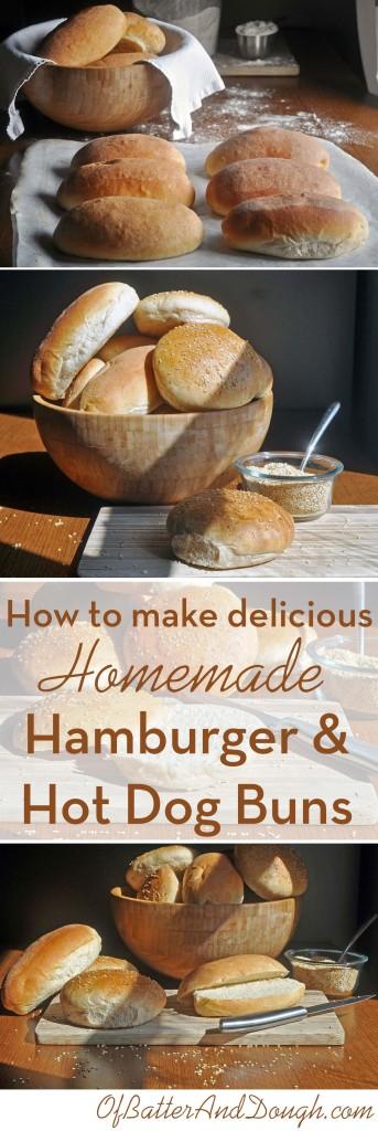 Homemade Hamburger and Hot Dog Buns