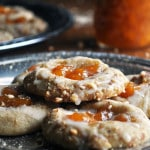 Peach Almond Shortbread Thumbprint Cookies