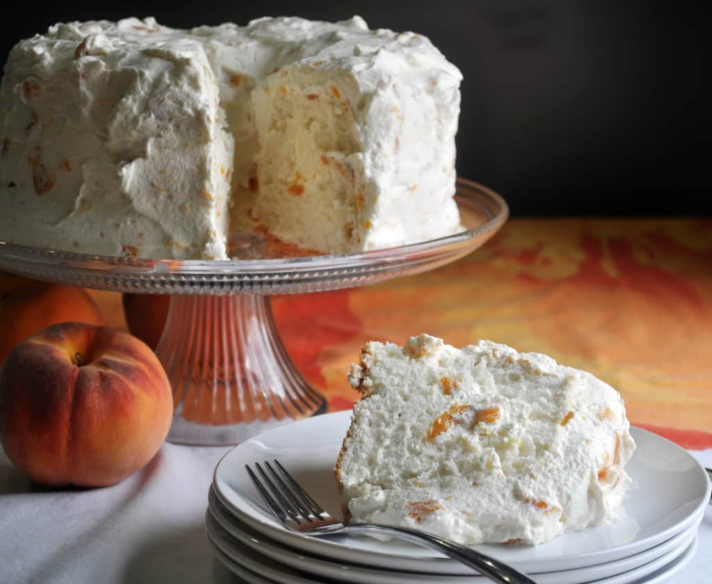 Angel Food Cake Recipe with Peaches and Whipped Cream