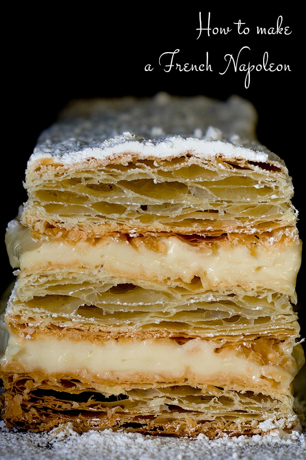 Napoleon Dessert filled with Vanilla Pastry Cream