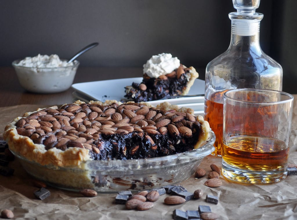 Thanksgiving Pies | Easy Homemade Chocolate Pie with Almonds and Bourbon