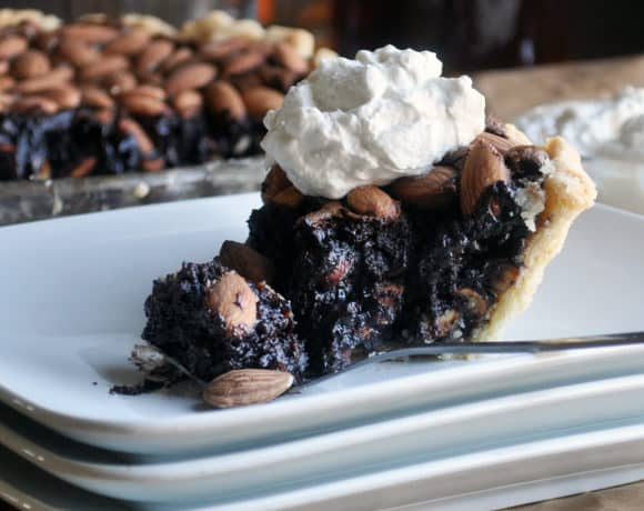 Easy Homemade Chocolate Pie with Almonds and Bourbon | ofbatteranddough.com