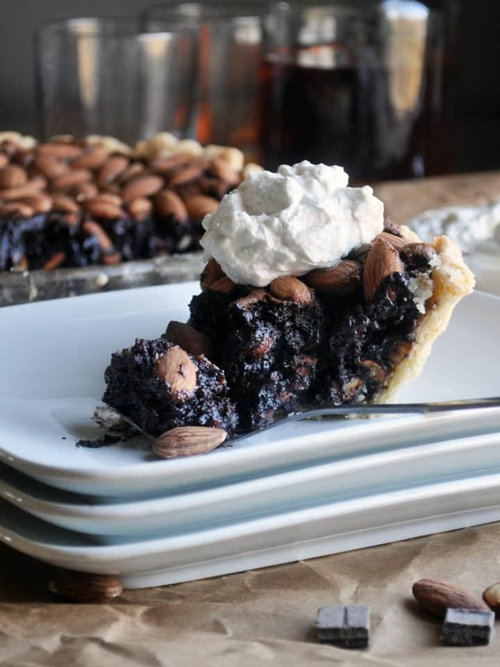 Easy Homemade Chocolate Pie with Almonds and Bourbon | ofbatteranddough.com