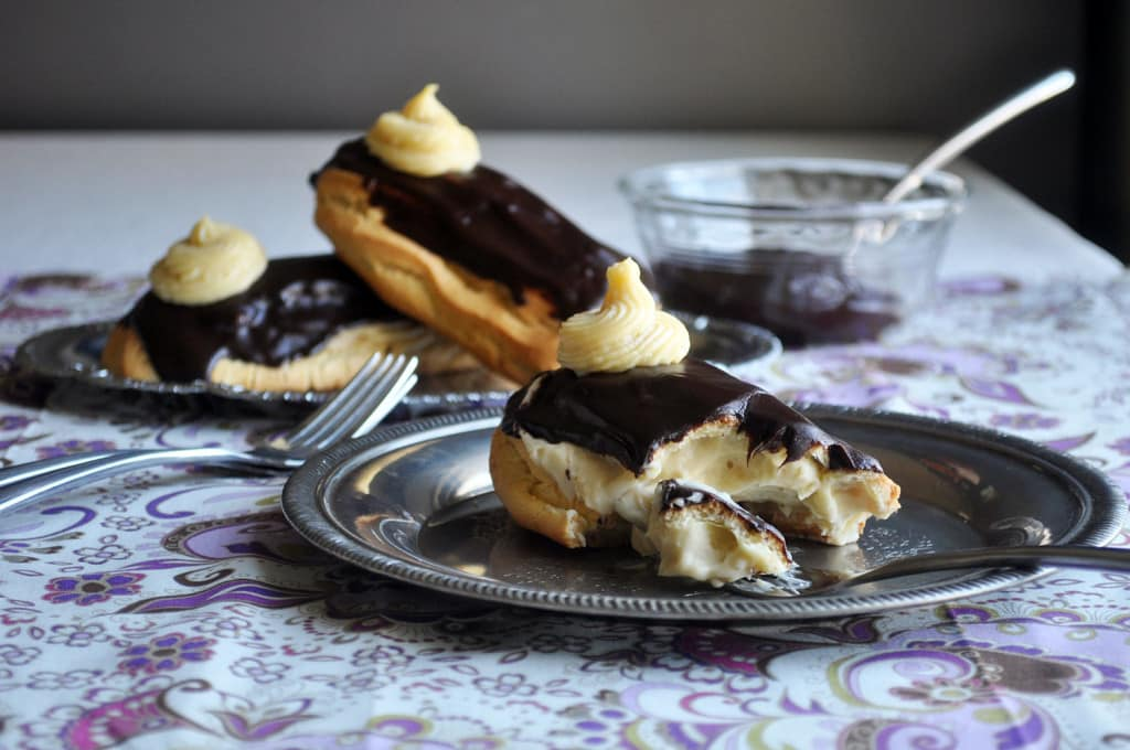 chocolate eclair dessert recipe | French pastry recipes | ofbatteranddough.com