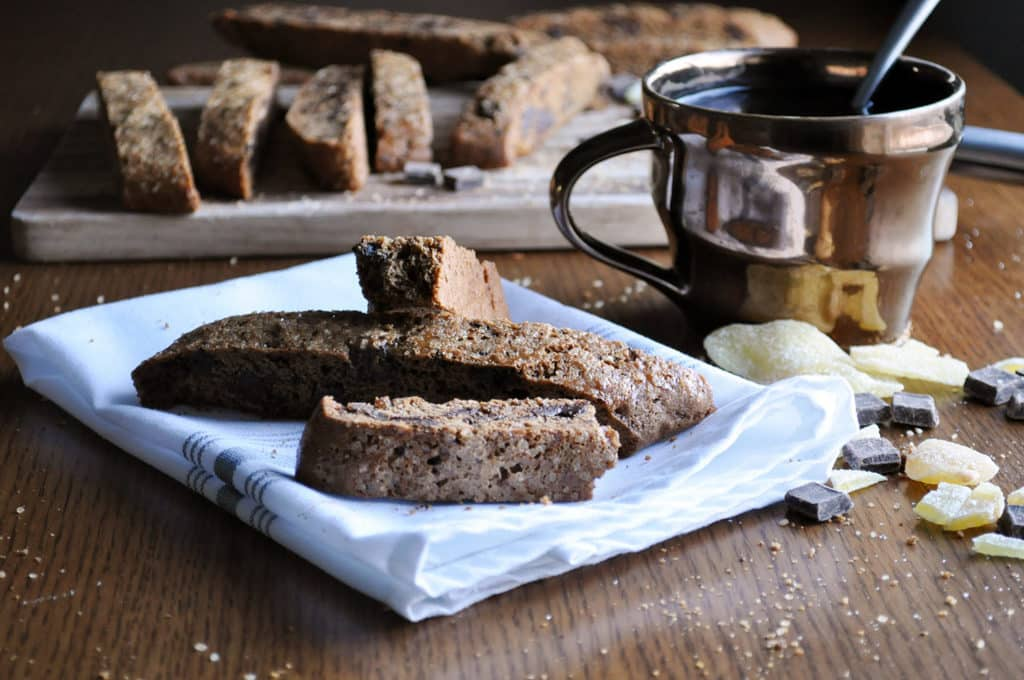 Gingerbread Biscotti Recipe with Dark Chocolate Ginger Bark