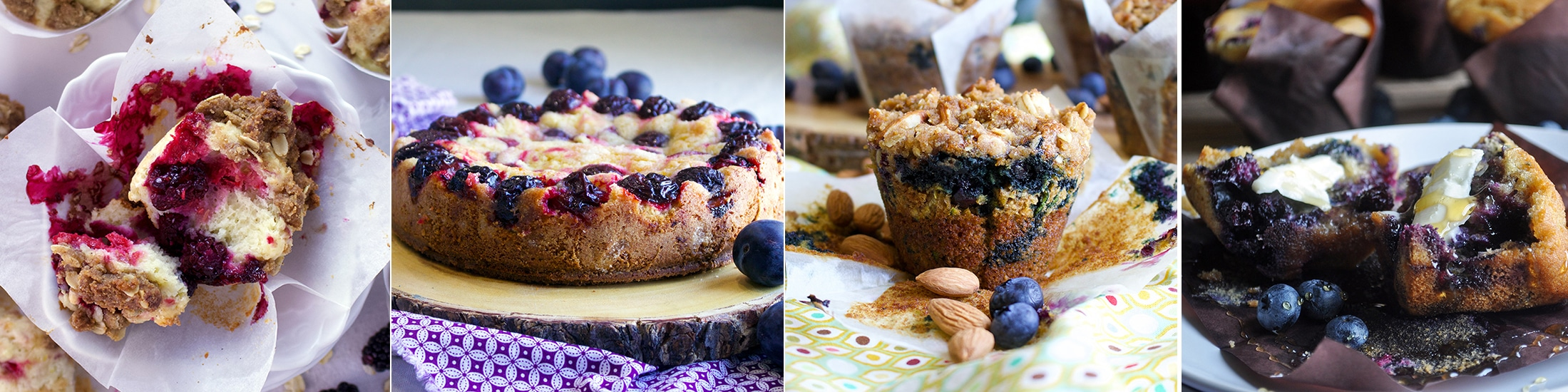 Breakfast Treats: Mixed Berry Muffins with Streusel, Almond Plum Cake, Zucchini Blueberry Muffins, Blueberry Corn Muffins