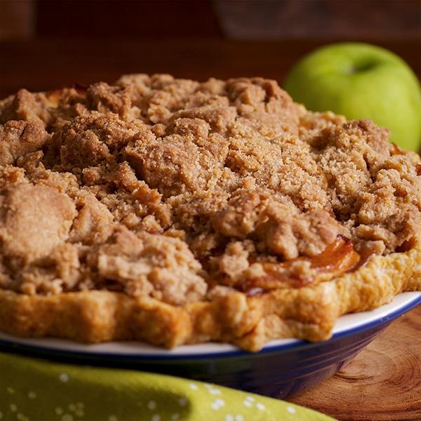 A freshly baked caramel apple pie.