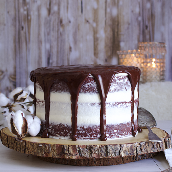 Red velvet cake with cream cheese buttercream and chocolate ganache
