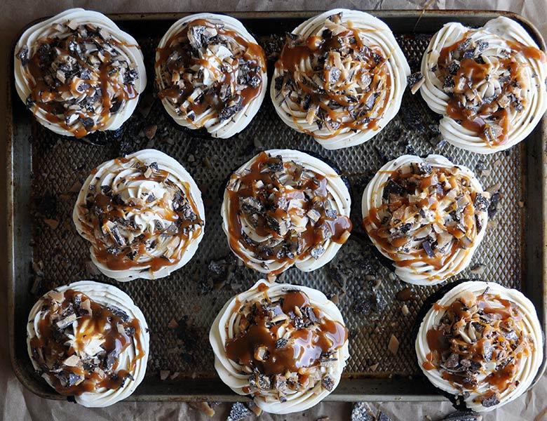 Salted Caramel Cupcakes | Chocolate Salted Caramel Cupcake Recipe | ofbatteranddough.com