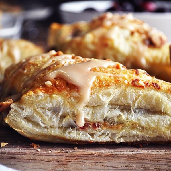 Cream cheese cherry turnovers with almond glaze