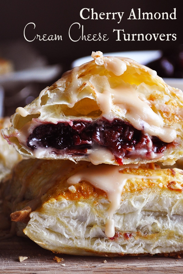 Cream cheese cherry turnovers with almond glaze