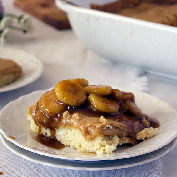 Bananas Foster Butter Cake. {St. Louis Gooey Butter Cake with Bananas Foster Sauce}