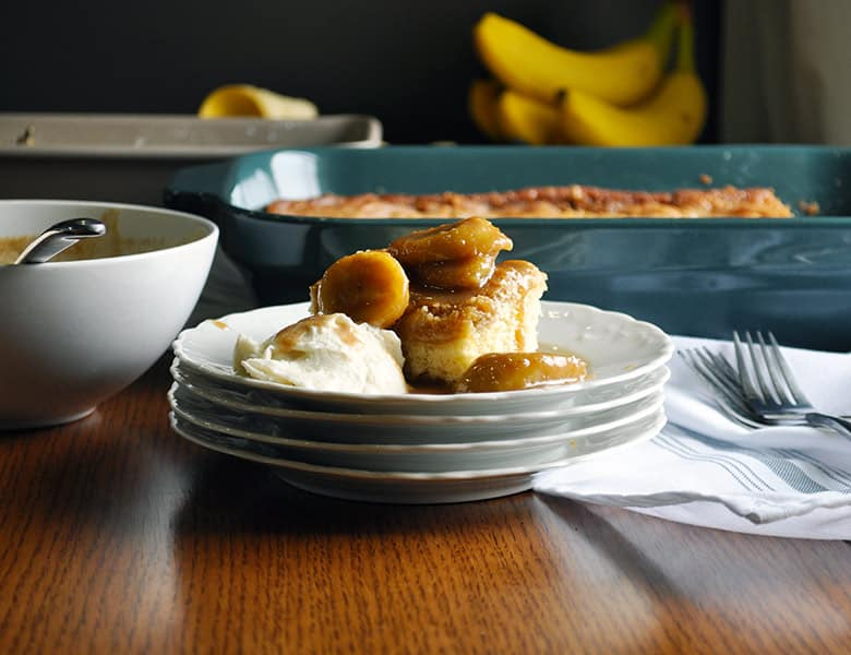 St. Louis Gooey Butter Cake with Bananas Foster Sauce | Bananas Foster Butter Cake | ofbatteranddough.com
