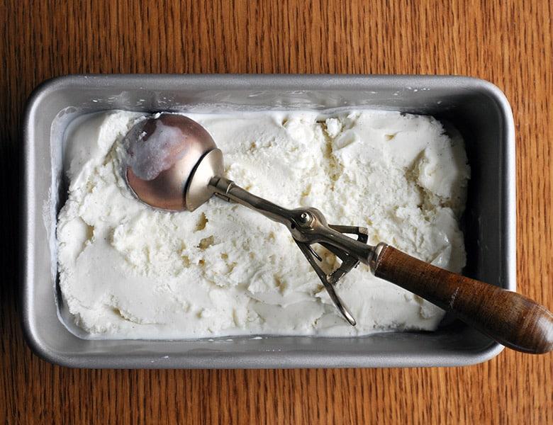 Vanilla Ice Cream for Bananas Foster Butter Cake | ofbatteranddough.com