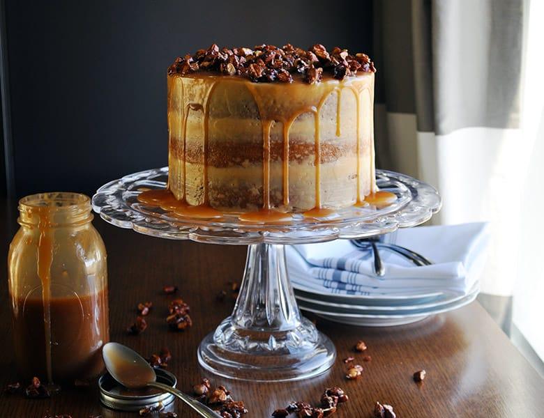 Gluten Free Birthday Cake | Gluten Free Caramel Cake with Salted Caramel Italian Meringue Buttercream | ofbatteranddough.com