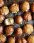 Doughnut Holes filled with Salted Caramel Pastry Cream | ofbatteranddough.com