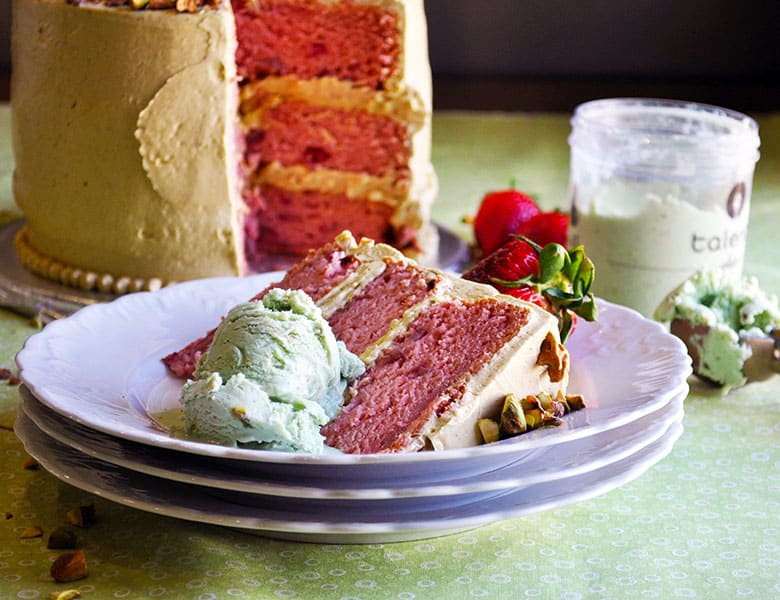 The Best fresh Strawberry Cake with Pistachio Buttercream | ofbatteranddough.com