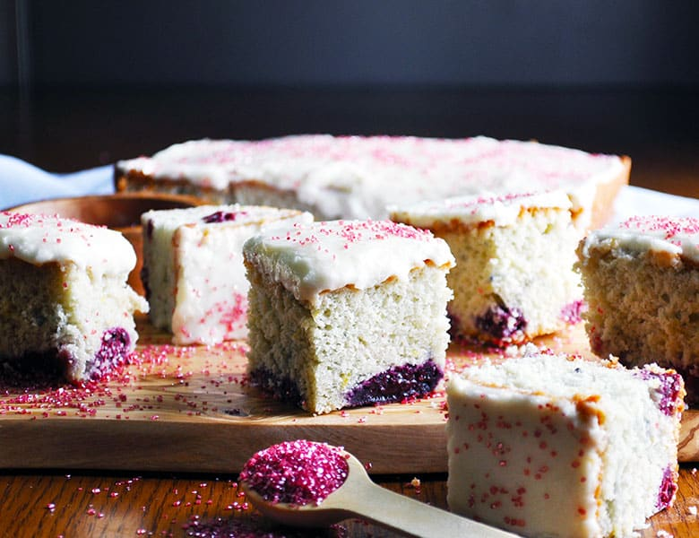 Berry Lemon Snack Cake Recipe | ofbatteranddough.com