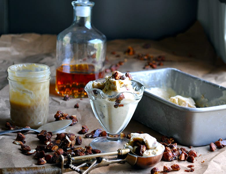 Butterscotch bourbon praline ice cream | ofbatteranddough.com