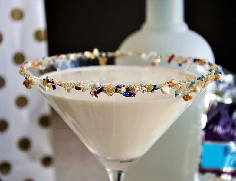 Birthday Cake Martini | toffeetini | Martini Party | ofbatteranddough.com