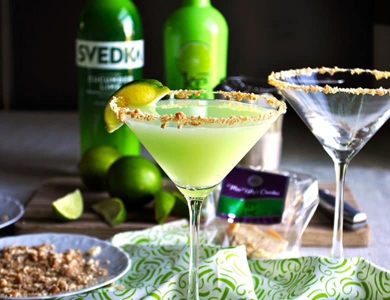 Key Lime Cucumber Martini | toffeetini | Martini Party | ofbatteranddough.com