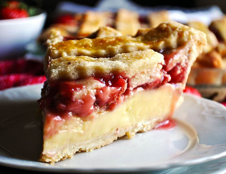 Strawberry Cream Pie | Strawberries and Cream Pie | ofbatteranddough.com