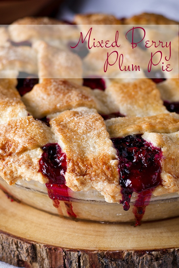 A whole Mixed Berry Plum Pie