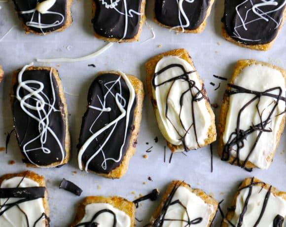 Double Chocolate Pistachio Shortbread Cookies | ofbatteranddough.com