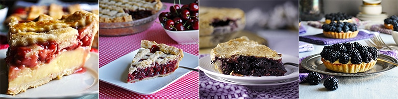 More pie and tart recipes: Strawberries and Cream Pie, Triple Cherry Pie, The Best Blueberry Pie, Mixed Berry and Lemon Custard Tart