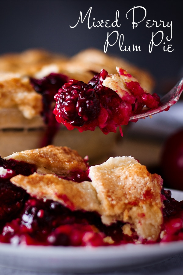 Taking a bite of Mixed Berry Plum Pie
