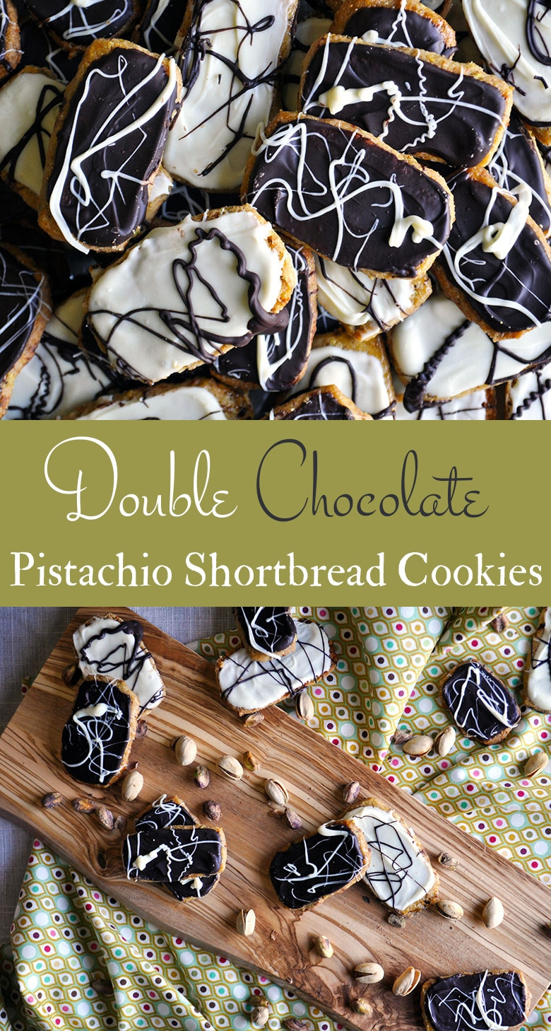 A tray of Double Chocolate Pistachio Shortbread Cookies