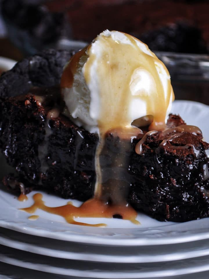 Chocolate Brownie Pie with vanilla ice cream and butterscotch sauce.