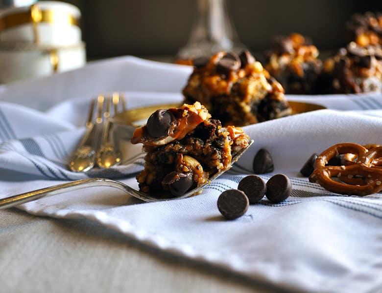 8 layer chocolate peanut butter brownie bars reduced sugar | ofbatteranddough.com